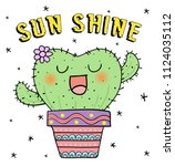 vector illustration of cute... | Shutterstock .eps vector #1124035112