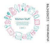 vector kitchen utensils doodle... | Shutterstock .eps vector #1124054798