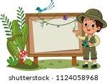 a little explorer standing in...   Shutterstock .eps vector #1124058968