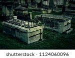 ancient tombs in a cemetery ... | Shutterstock . vector #1124060096