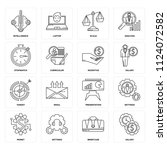 set of 16 icons such as salary  ...
