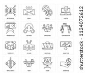 set of 16 icons such as... | Shutterstock .eps vector #1124072612