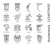 set of 16 icons such as popcorn ...
