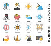 set of 16 icons such as wallet  ... | Shutterstock .eps vector #1124073578