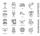 set of 16 icons such as darts ...