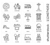 set of 16 icons such as bottles ...