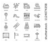 set of 16 icons such as tower...