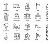 set of 16 icons such as fair...