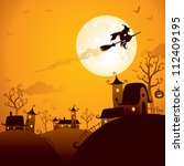 Halloween Scene  Witch Flying...