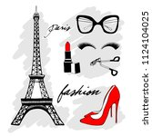 set paris with hand drawn... | Shutterstock .eps vector #1124104025