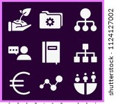 set of 9 business filled icons... | Shutterstock .eps vector #1124127002