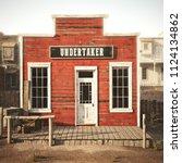 western town rustic undertaker. ... | Shutterstock . vector #1124134862
