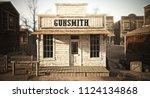 western town rustic gunsmith... | Shutterstock . vector #1124134868