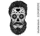 bearded sugar skull. design... | Shutterstock .eps vector #1124185292
