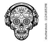 sugar skull with headphones.... | Shutterstock .eps vector #1124185298