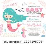 baby shower invitation card... | Shutterstock .eps vector #1124195708