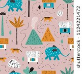 forest landscape. childish... | Shutterstock .eps vector #1124221472
