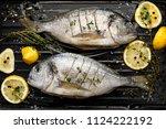 fresh dorada fish  sea bream...   Shutterstock . vector #1124222192