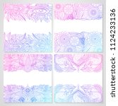 set of cards with ethnic floral ... | Shutterstock .eps vector #1124233136
