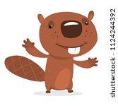 funny cartoon beaver waving... | Shutterstock .eps vector #1124244392
