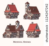 medieval ancient buildings set... | Shutterstock .eps vector #1124247242