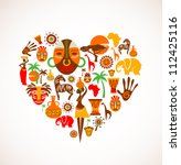 heart with africa vector icons | Shutterstock .eps vector #112425116