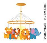 baby carousel with hanging toys ... | Shutterstock .eps vector #1124251388