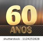 golden number sixty  number 60  ... | Shutterstock . vector #1124252828