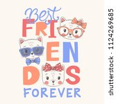 cute cats. best friends forever ... | Shutterstock .eps vector #1124269685
