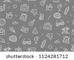 summer party seamless pattern... | Shutterstock .eps vector #1124281712