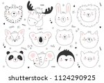 vector set of cute doodle... | Shutterstock .eps vector #1124290925