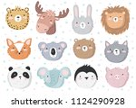 vector set of cute doodle... | Shutterstock .eps vector #1124290928