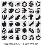 black vector vegetables and... | Shutterstock .eps vector #112429142