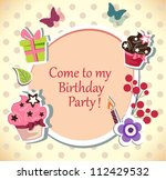 birthday party  invitation card | Shutterstock .eps vector #112429532
