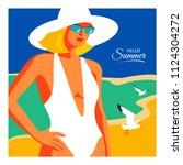 hello summer  holiday concept.... | Shutterstock .eps vector #1124304272