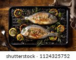 grilled  fish  sea bream ... | Shutterstock . vector #1124325752