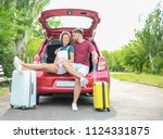beautiful young couple with... | Shutterstock . vector #1124331875