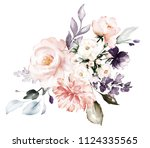 watercolor flowers. floral... | Shutterstock . vector #1124335565