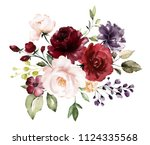 watercolor burgundy flowers.... | Shutterstock . vector #1124335568