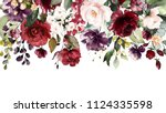 watercolor flowers. floral... | Shutterstock . vector #1124335598