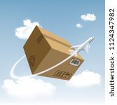 plane flies around the... | Shutterstock .eps vector #1124347982