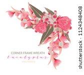 eucalyptus corner frame wreath | Shutterstock .eps vector #1124348408