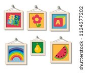 a set of cute wall paintings... | Shutterstock .eps vector #1124377202