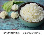 Cauliflower Rice On Green...