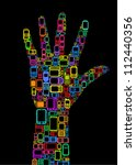 Silhouette of hand made with Cellphones and Smartphones in black background - stock photo