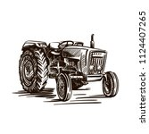 wheel agricultural tractor.... | Shutterstock .eps vector #1124407265