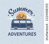summer adventures surf bus bike ... | Shutterstock .eps vector #1124408192