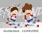 cartoon design for world cup... | Shutterstock .eps vector #1124413502