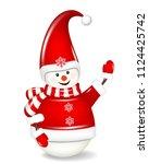 christmas snowman isolated on... | Shutterstock .eps vector #1124425742
