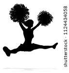 detailed silhouette cheerleader ... | Shutterstock .eps vector #1124434058